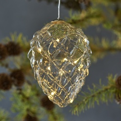 LED hanging light pinecone - transparent, 13 cm